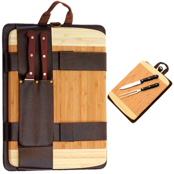 BBQ Set Parrilla Tabla Bamboo