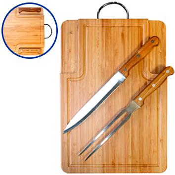BBQ Set Parrilla Tabla Bamboo
